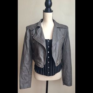 Grey Faux Leather Jacket & Zip Off Moto Jacket, S